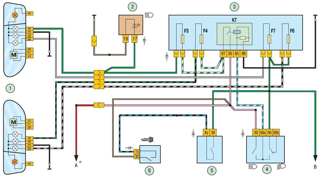 Схема включения фар: 1